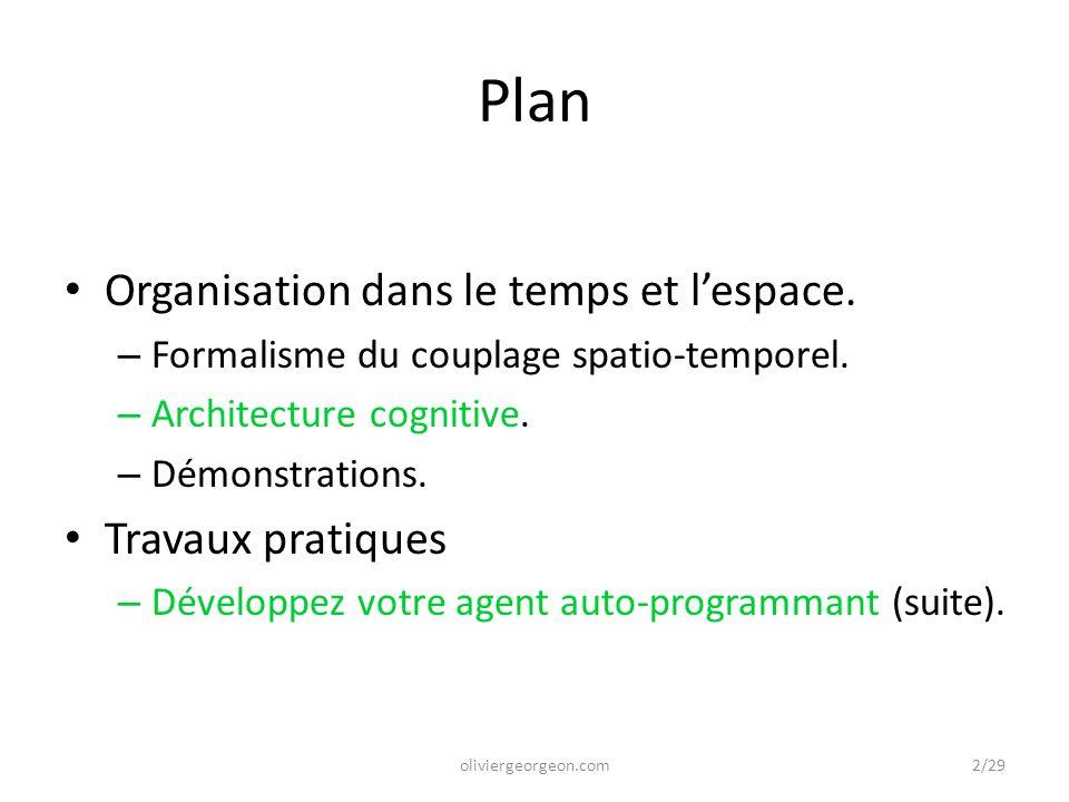 Plan Organisation dans le temps et l'espace. – Formalisme du couplage spatio-temporel. – Architecture cognitive. – Démonstrations. Travaux pratiques –