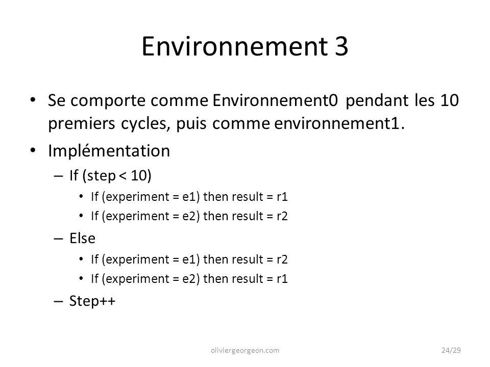 Environnement 3 Se comporte comme Environnement0 pendant les 10 premiers cycles, puis comme environnement1. Implémentation – If (step < 10) If (experi