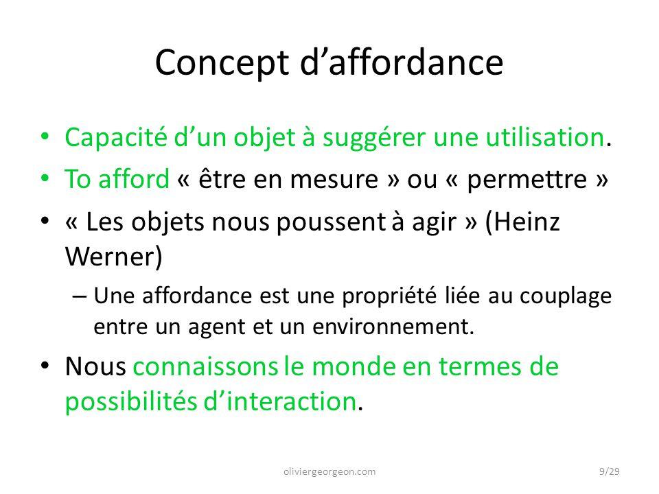 Concept d'affordance Capacité d'un objet à suggérer une utilisation. To afford « être en mesure » ou « permettre » « Les objets nous poussent à agir »