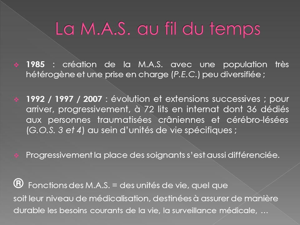  1985 : création de la M.A.S. avec une population très hétérogène et une prise en charge (P.E.C.) peu diversifiée ;  1992 / 1997 / 2007 : évolution
