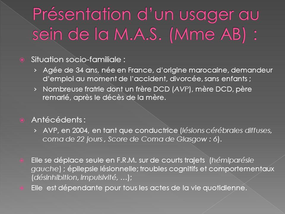  Situation socio-familiale : › Agée de 34 ans, née en France, d'origine marocaine, demandeur d'emploi au moment de l'accident, divorcée, sans enfants