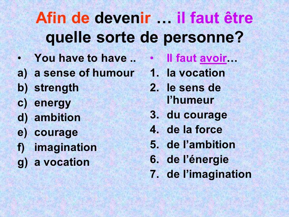 Afin de devenir … il faut être quelle sorte de personne? You have to have.. a)a sense of humour b)strength c)energy d)ambition e)courage f)imagination