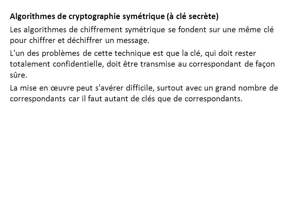 Algorithmes de cryptographie symétrique (à clé secrète) Les algorithmes de chiffrement symétrique se fondent sur une même clé pour chiffrer et déchiff