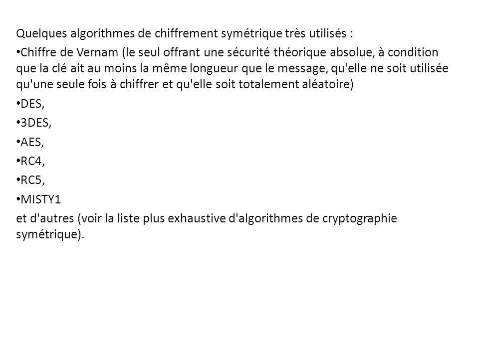 Quelques algorithmes de chiffrement symétrique très utilisés : Chiffre de Vernam (le seul offrant une sécurité théorique absolue, à condition que la c