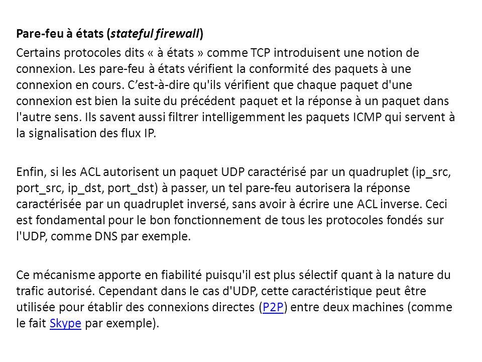Pare-feu à états (stateful firewall) Certains protocoles dits « à états » comme TCP introduisent une notion de connexion. Les pare-feu à états vérifie