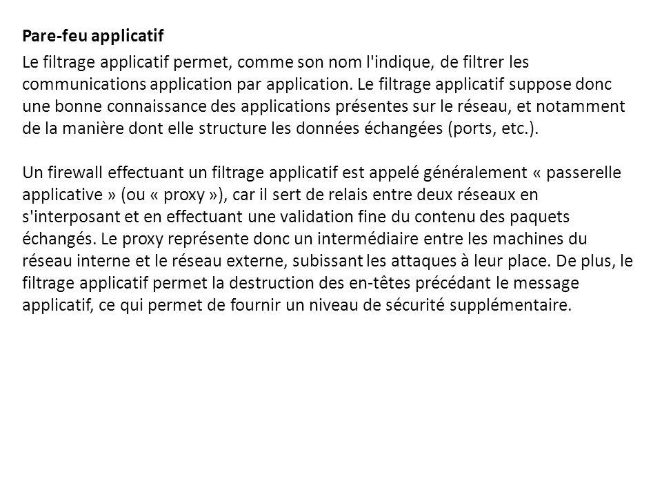 Pare-feu applicatif Le filtrage applicatif permet, comme son nom l'indique, de filtrer les communications application par application. Le filtrage app
