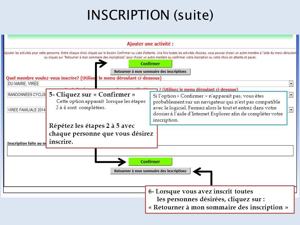 INSCRIPTION (suite) 5- Cliquez sur « Confirmer » Cette option apparaît lorsque les étapes 2 à 4 sont complétées.