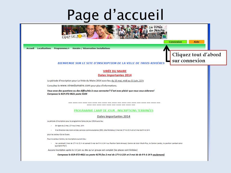 Page d'accueil Cliquez tout d'abord sur connexion