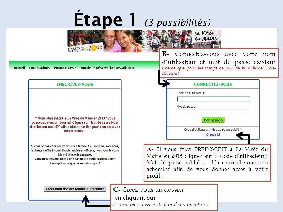 Étape 1 (3 possibilités) B- Connectez-vous avec votre nom d'utilisateur et mot de passe existant (même que pour les camps de jour de la Ville de Trois- Rivières) A- Si vous étiez PRÉINSCRIT à La Virée du Maire en 2013 cliquez sur « Code d'utilisateur/ Mot de passe oublié ».