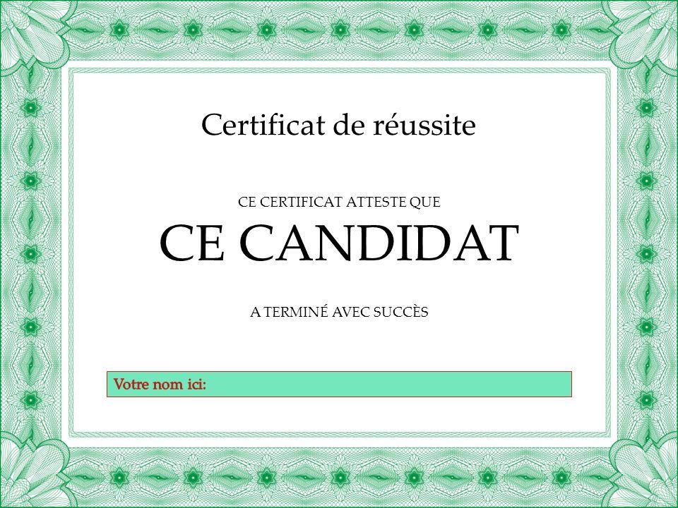 Remarque : ce certificat est destiné à l'impression.