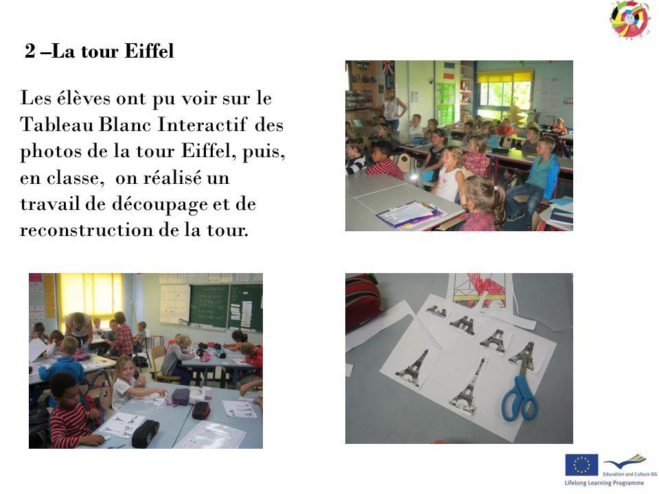 Les élèves ont pu voir sur le Tableau Blanc Interactif des photos de la tour Eiffel, puis, en classe, on réalisé un travail de découpage et de reconst