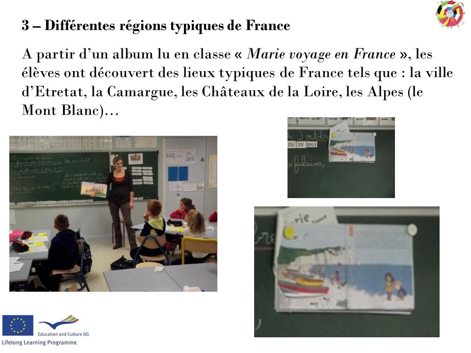 3 – Différentes régions typiques de France A partir d'un album lu en classe « Marie voyage en France », les élèves ont découvert des lieux typiques de