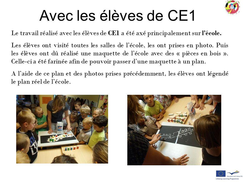Le travail réalisé avec les élèves de CE1 a été axé principalement sur l'école. Les élèves ont visité toutes les salles de l'école, les ont prises en