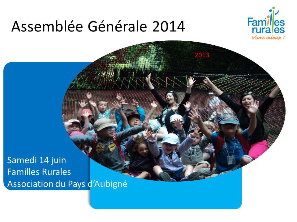 Assemblée Générale 2014 Samedi 14 juin Familles Rurales Association du Pays d'Aubigné 2013