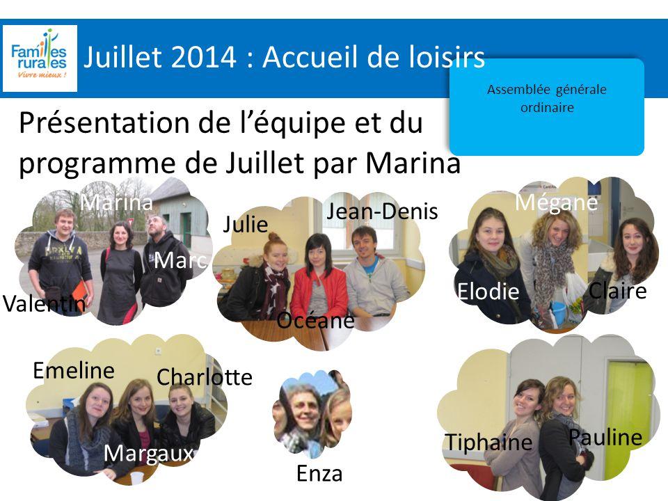 Assemblée Générale 2012 Juillet 2014 : Accueil de loisirs Assemblée générale ordinaire Présentation de l'équipe et du programme de Juillet par Marina