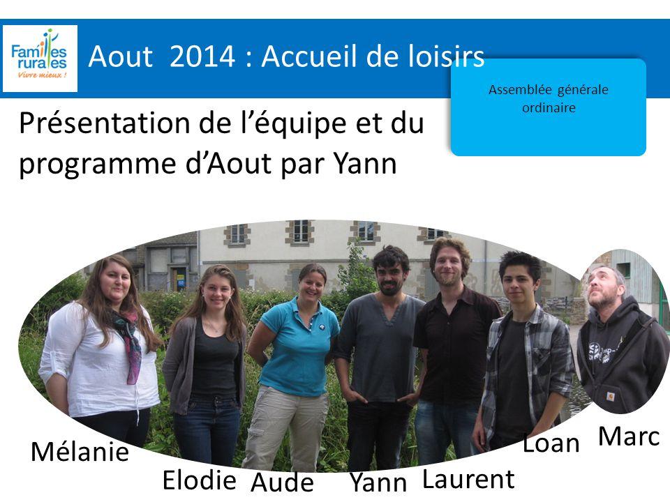 Assemblée Générale 2012 Aout 2014 : Accueil de loisirs Assemblée générale ordinaire Présentation de l'équipe et du programme d'Aout par Yann Mélanie E