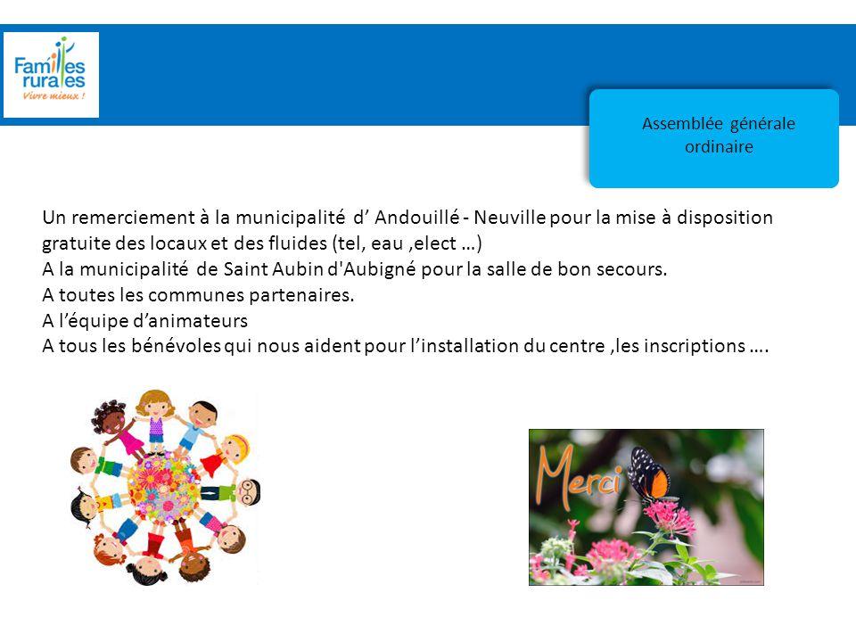 Assemblée Générale 2012 Accueil de loisirs Assemblée générale ordinaire Un remerciement à la municipalité d' Andouillé - Neuville pour la mise à dispo