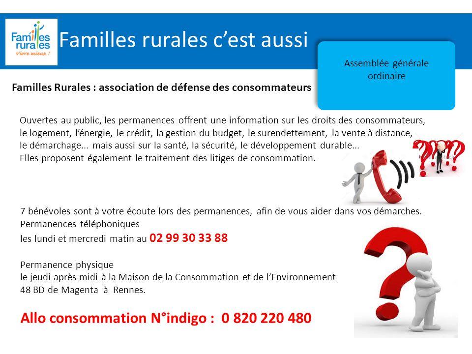 Assemblée Générale 2012 Familles rurales c'est aussi Assemblée générale ordinaire Familles Rurales : association de défense des consommateurs Ouvertes