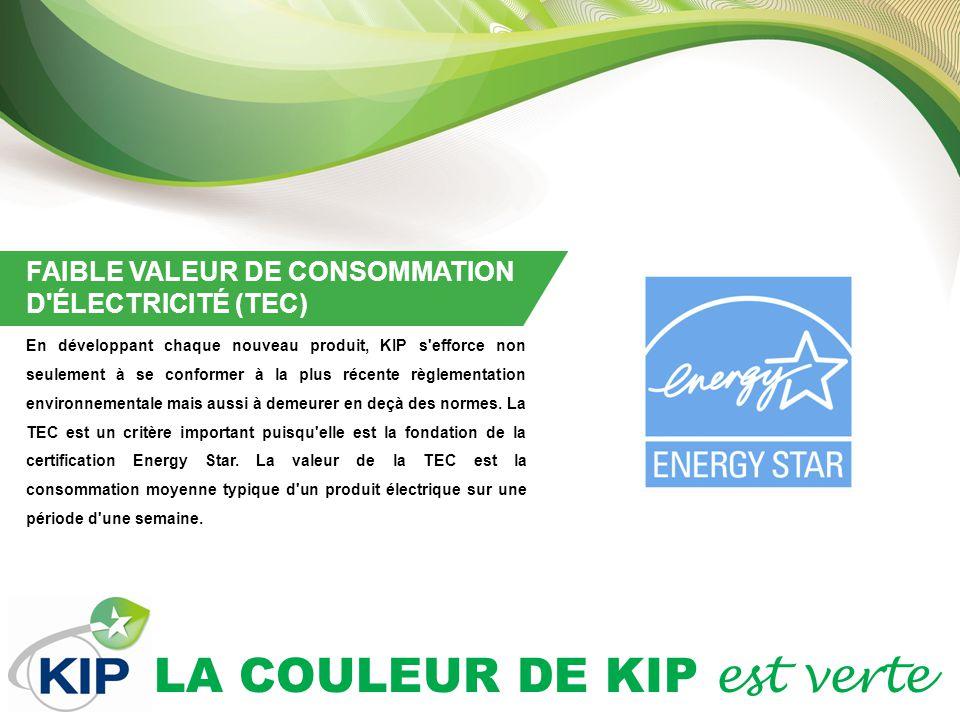 LA COULEUR DE KIP est verte FAIBLE VALEUR DE CONSOMMATION D ÉLECTRICITÉ (TEC) En développant chaque nouveau produit, KIP s efforce non seulement à se conformer à la plus récente règlementation environnementale mais aussi à demeurer en deçà des normes.