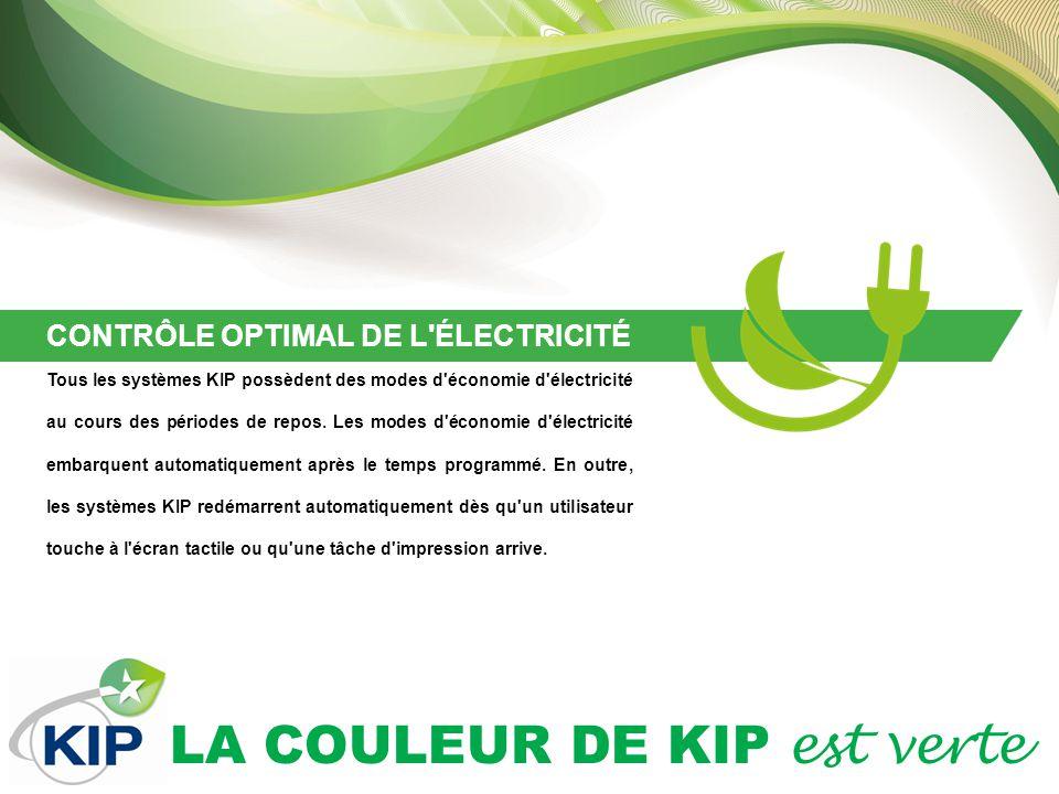 LA COULEUR DE KIP est verte CONTRÔLE OPTIMAL DE L ÉLECTRICITÉ Tous les systèmes KIP possèdent des modes d économie d électricité au cours des périodes de repos.
