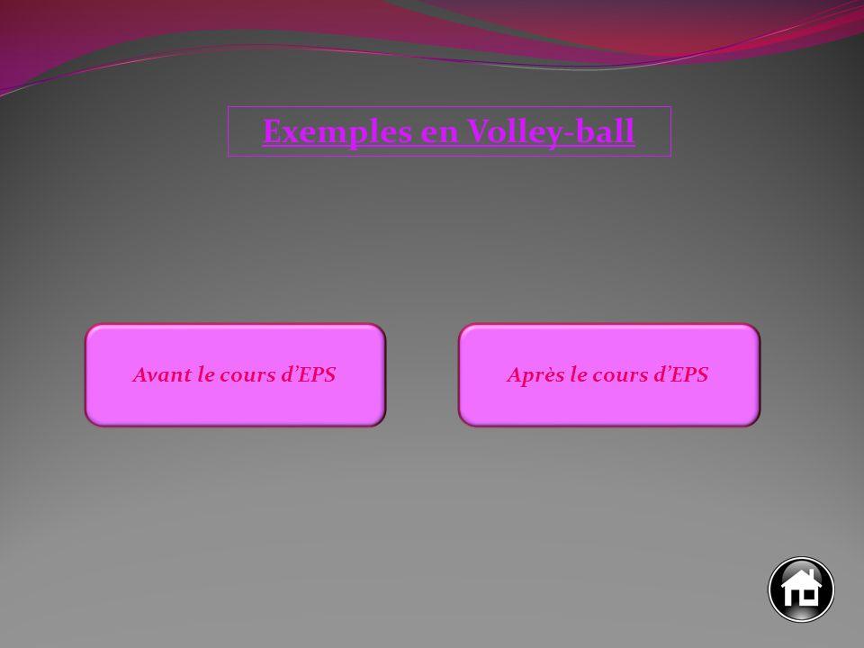 Exemples en Volley-ball Avant le cours d'EPSAprès le cours d'EPS