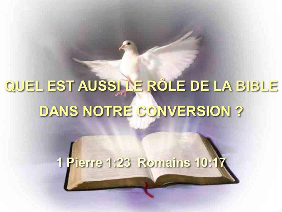 QUEL EST AUSSI LE RÔLE DE LA BIBLE DANS NOTRE CONVERSION .