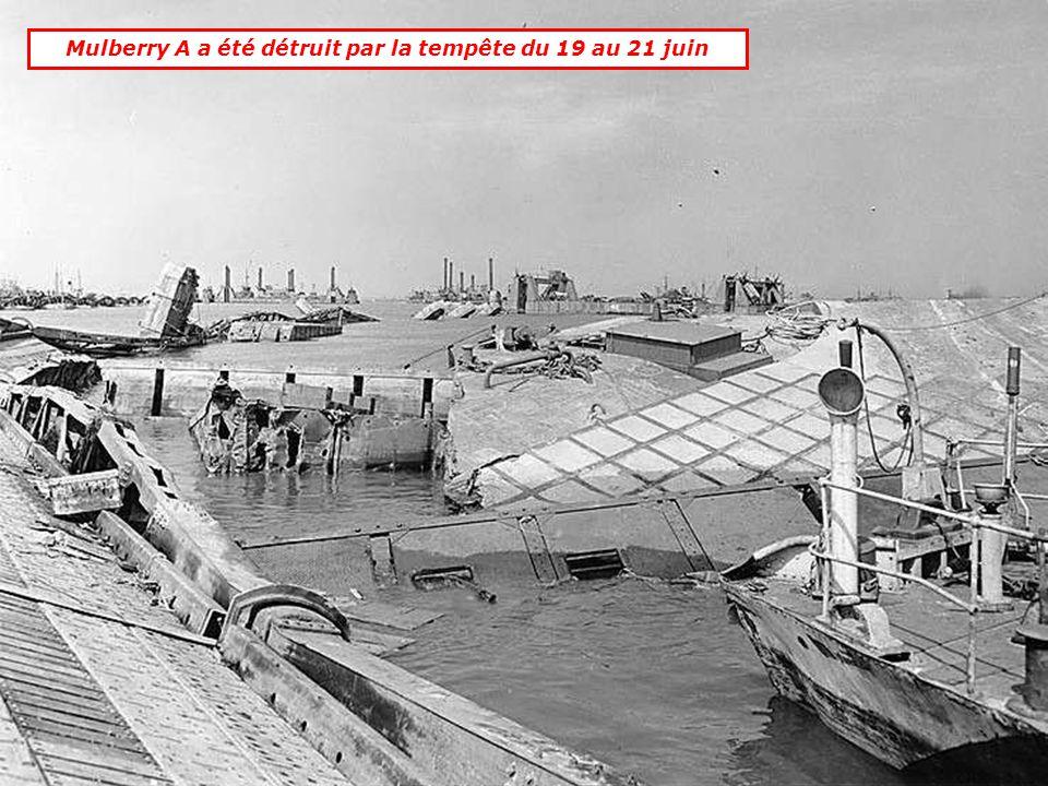 2 ports artificiels ont été créés:.Mulberry A: à St Laurent sur Mer.Mulberry B: à Arromanches Mulberry A