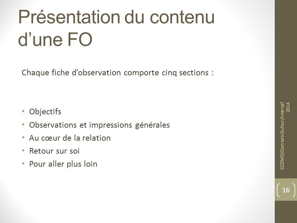 Présentation du contenu d'une FO Chaque fiche d'observation comporte cinq sections : Objectifs Observations et impressions générales Au cœur de la rel