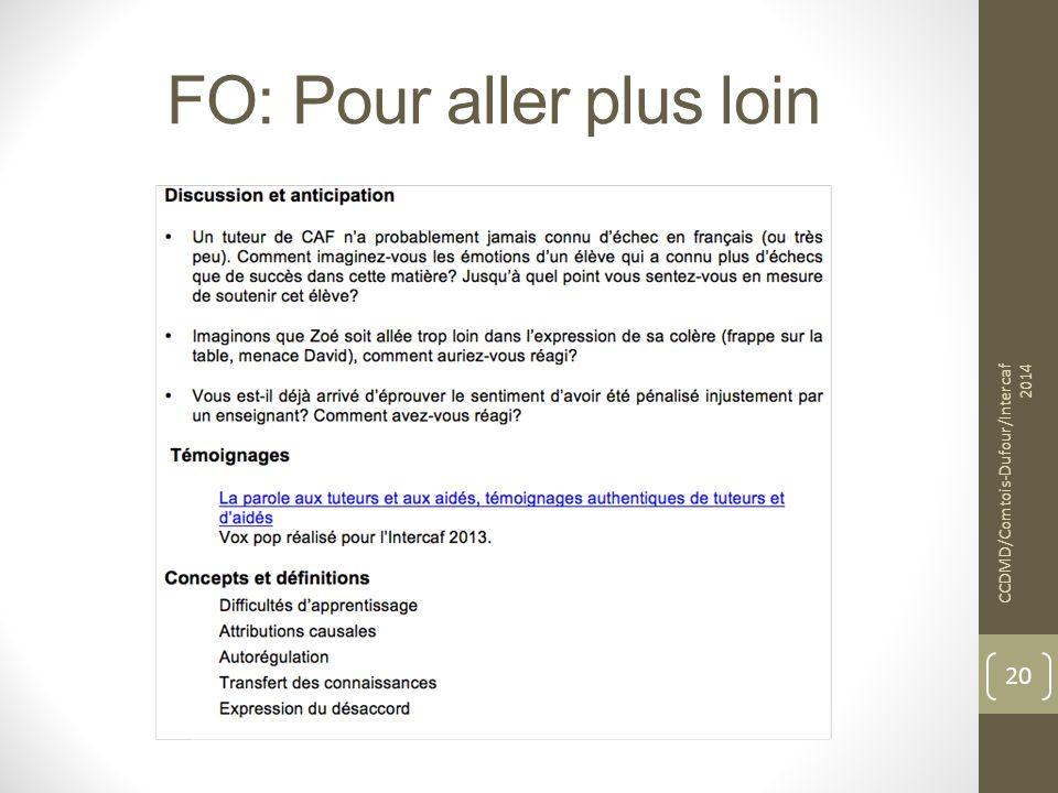 FO: Pour aller plus loin CCDMD/Comtois-Dufour/Intercaf 2014 20