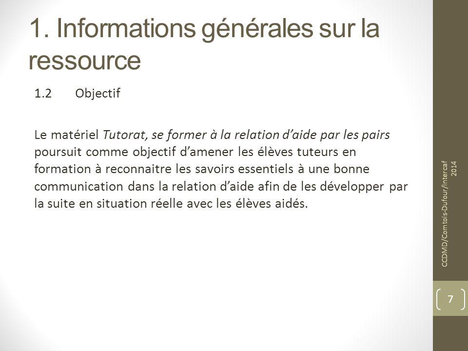 1. Informations générales sur la ressource 1.2Objectif Le matériel Tutorat, se former à la relation d'aide par les pairs poursuit comme objectif d'ame