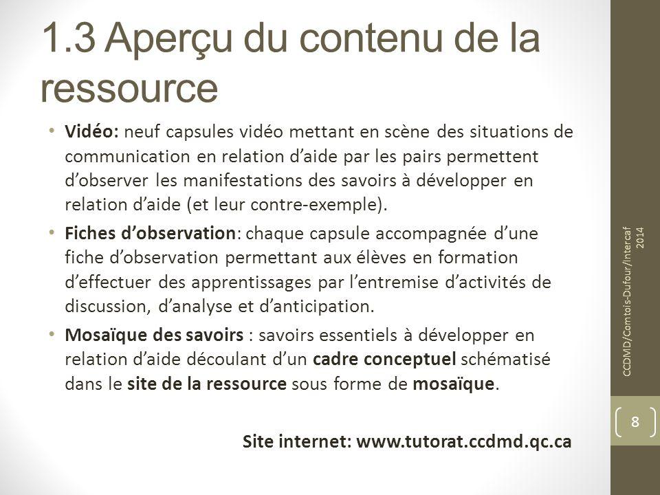 1.3 Aperçu du contenu de la ressource Vidéo: neuf capsules vidéo mettant en scène des situations de communication en relation d'aide par les pairs per