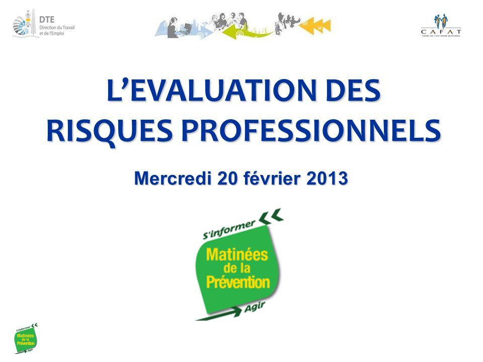 L'EVALUATION DES RISQUES PROFESSIONNELS Mercredi 20 février 2013