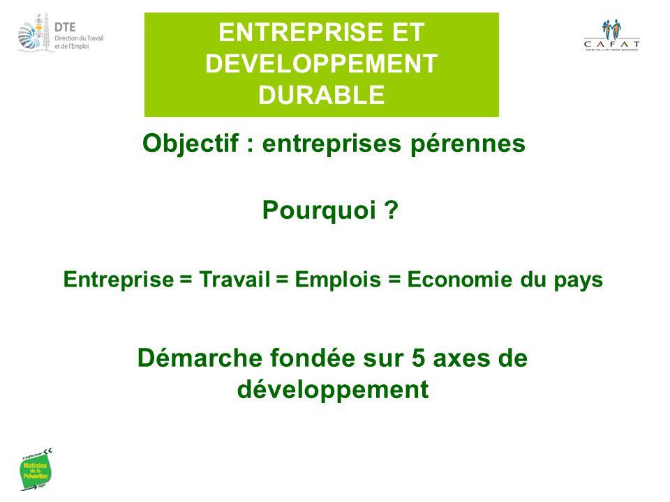 ENTREPRISE ET DEVELOPPEMENT DURABLE Démarche fondée sur 5 axes de développement Pourquoi ? Objectif : entreprises pérennes Entreprise = Travail = Empl
