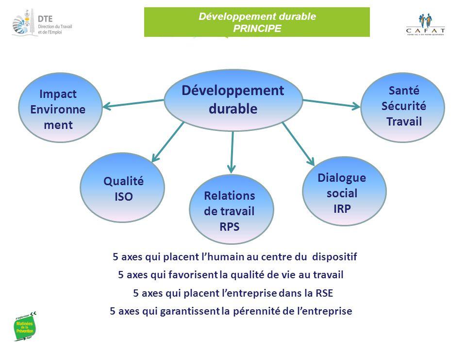 Développement durable PRINCIPE Développement durable 5 axes qui placent l'entreprise dans la RSE Relations de travail RPS Dialogue social IRP Santé Sé