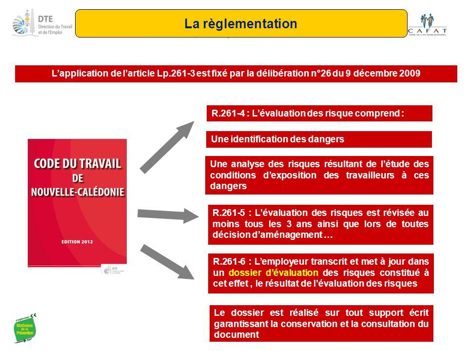 L'application de l'article Lp.261-3 est fixé par la délibération n°26 du 9 décembre 2009 R.261-4 : L'évaluation des risque comprend : Une identificati