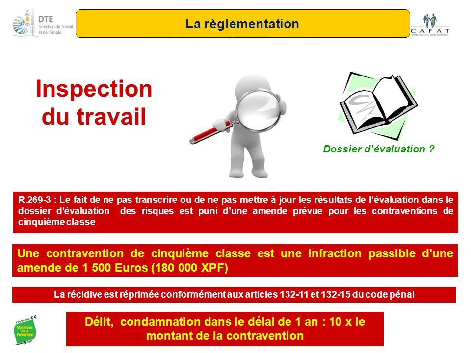 Inspection du travail R.269-3 : Le fait de ne pas transcrire ou de ne pas mettre à jour les résultats de l'évaluation dans le dossier d'évaluation des
