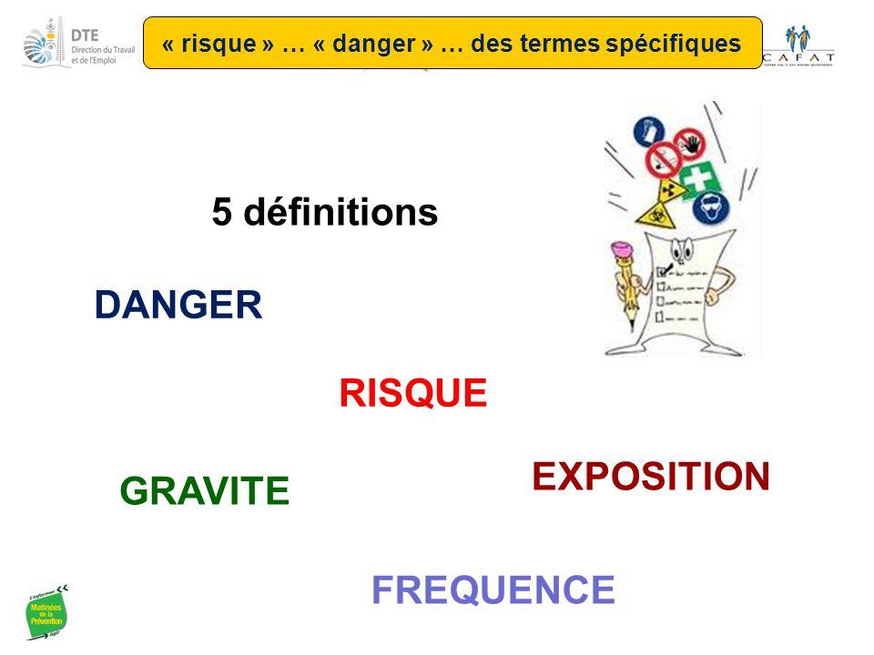 RISQUE DANGER EXPOSITION 5 définitions GRAVITE FREQUENCE « risque » … « danger » … des termes spécifiques