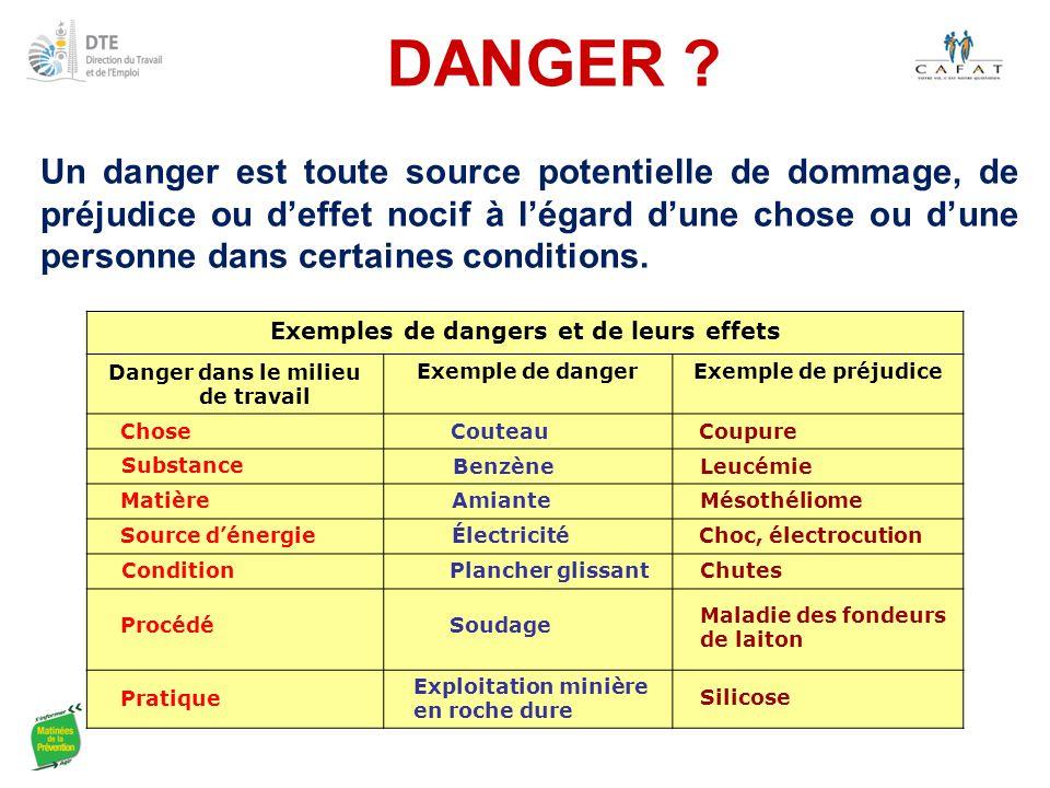 DANGER ? Un danger est toute source potentielle de dommage, de préjudice ou d'effet nocif à l'égard d'une chose ou d'une personne dans certaines condi