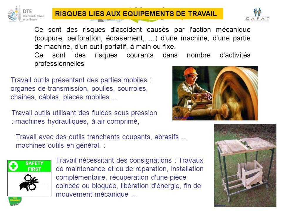 RISQUES LIES AUX EQUIPEMENTS DE TRAVAIL Ce sont des risques d'accident causés par l'action mécanique (coupure, perforation, écrasement, …) d'une machi