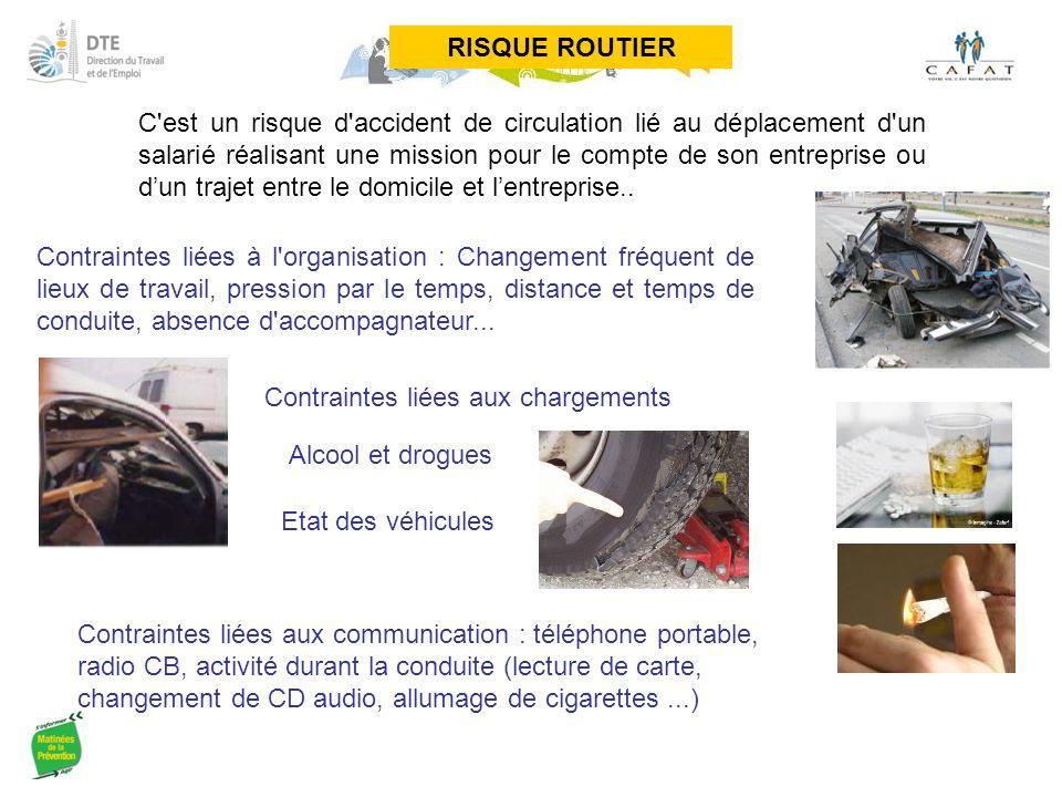 RISQUE ROUTIER C'est un risque d'accident de circulation lié au déplacement d'un salarié réalisant une mission pour le compte de son entreprise ou d'u