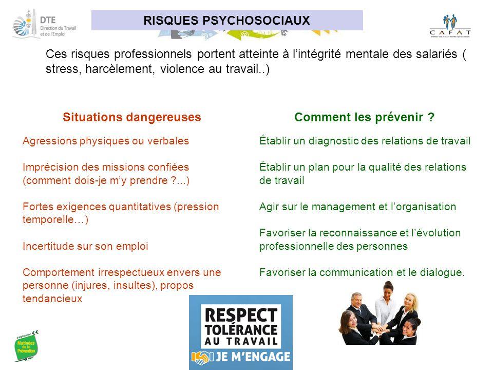 RISQUES PSYCHOSOCIAUX Ces risques professionnels portent atteinte à l'intégrité mentale des salariés ( stress, harcèlement, violence au travail..) Sit