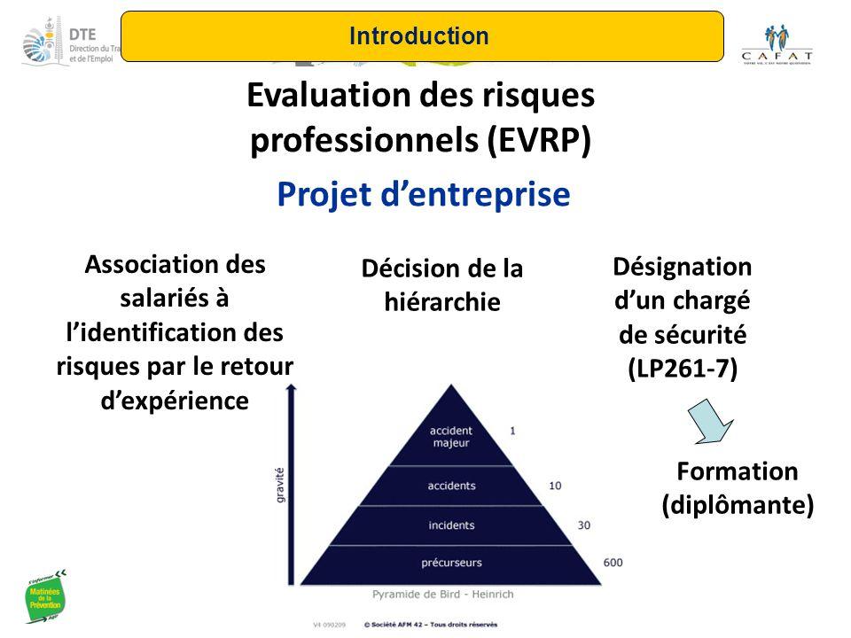 Evaluation des risques professionnels (EVRP) Projet d'entreprise Association des salariés à l'identification des risques par le retour d'expérience Dé