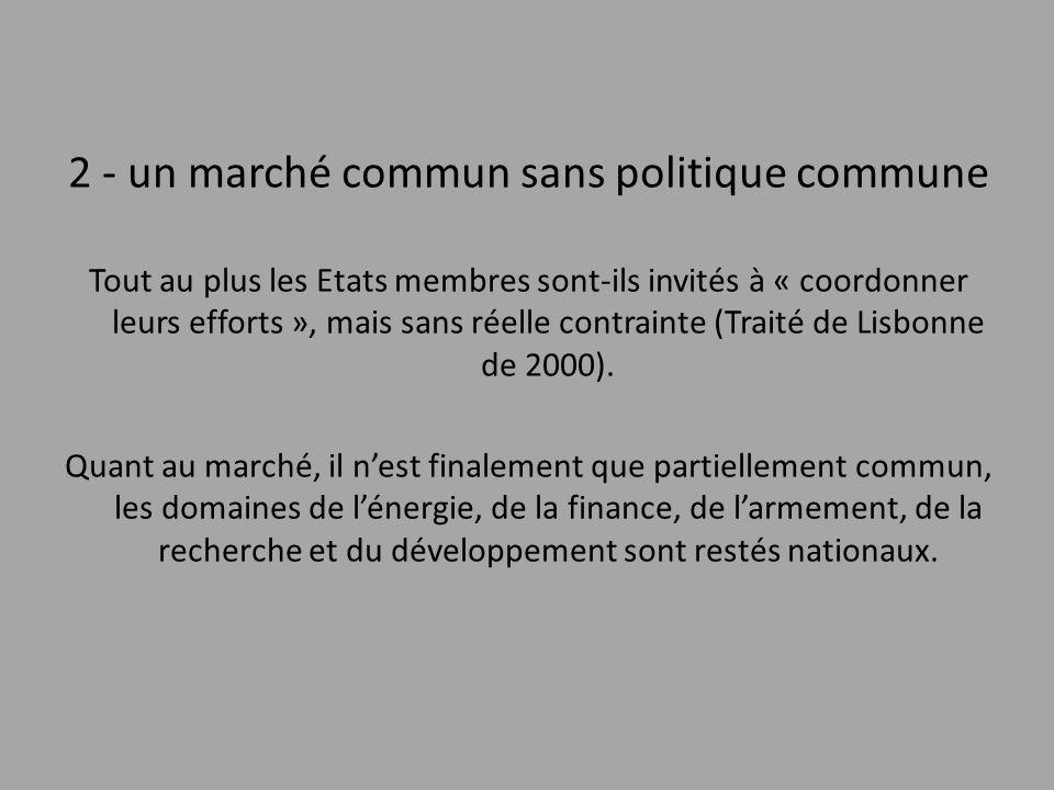 2 - un marché commun sans politique commune Tout au plus les Etats membres sont-ils invités à « coordonner leurs efforts », mais sans réelle contraint
