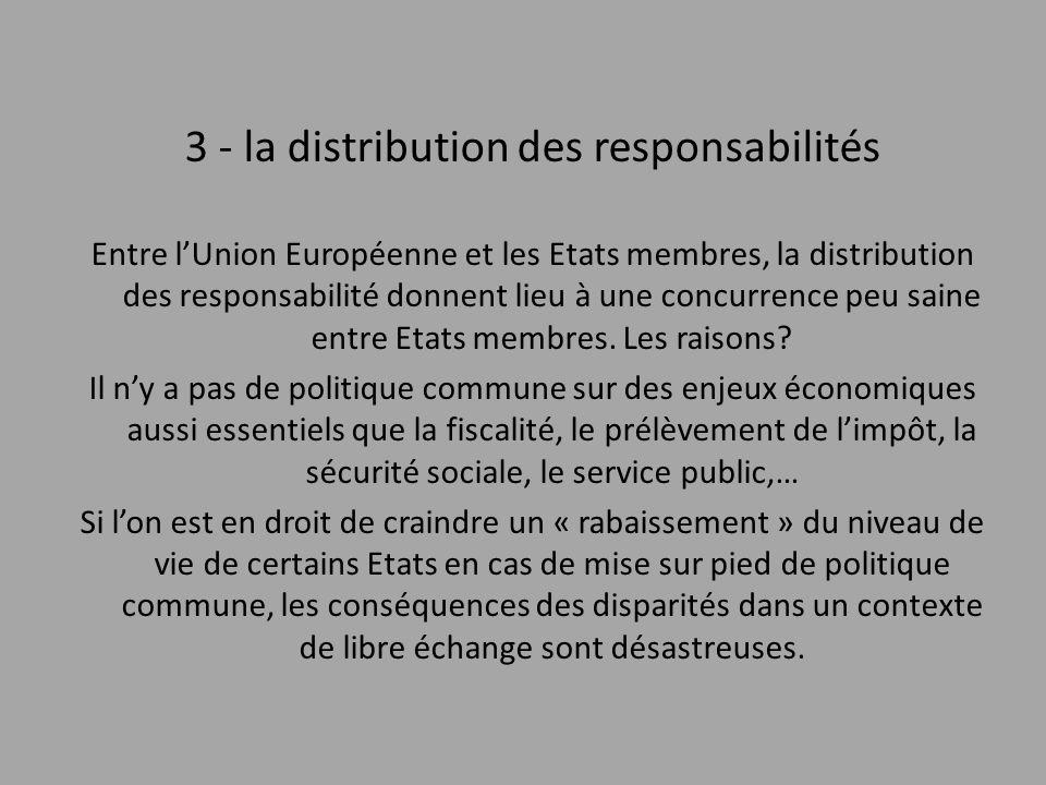 3 - la distribution des responsabilités Entre l'Union Européenne et les Etats membres, la distribution des responsabilité donnent lieu à une concurren