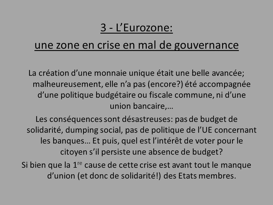 3 - L'Eurozone: une zone en crise en mal de gouvernance La création d'une monnaie unique était une belle avancée; malheureusement, elle n'a pas (encor