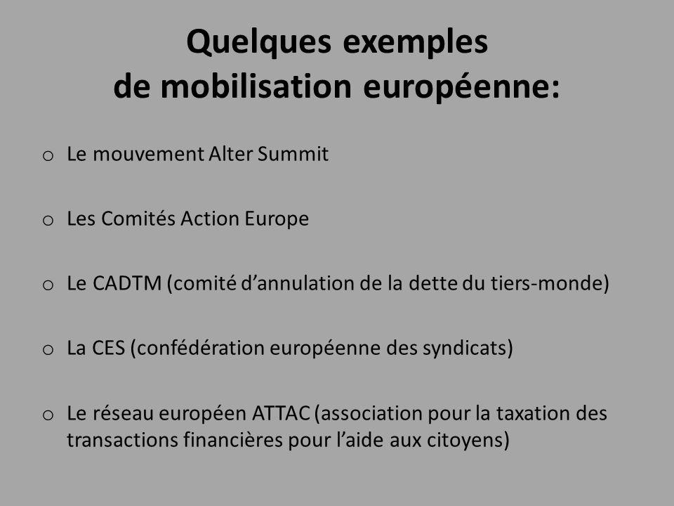 Quelques exemples de mobilisation européenne: o Le mouvement Alter Summit o Les Comités Action Europe o Le CADTM (comité d'annulation de la dette du t