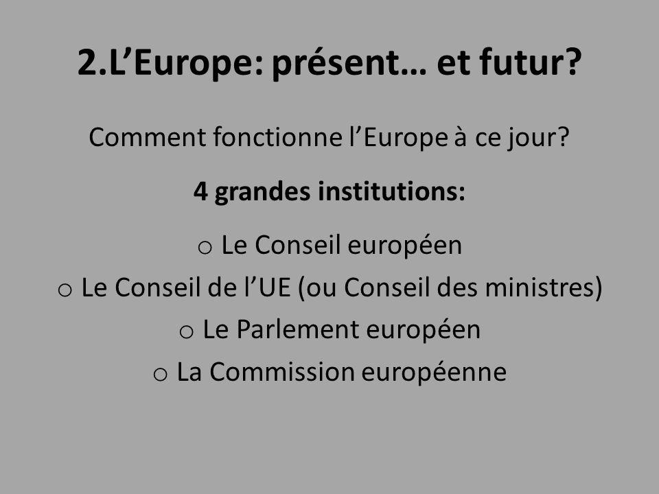 2.L'Europe: présent… et futur? Comment fonctionne l'Europe à ce jour? 4 grandes institutions: o Le Conseil européen o Le Conseil de l'UE (ou Conseil d