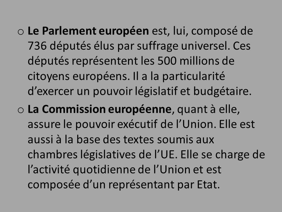 o Le Parlement européen est, lui, composé de 736 députés élus par suffrage universel. Ces députés représentent les 500 millions de citoyens européens.