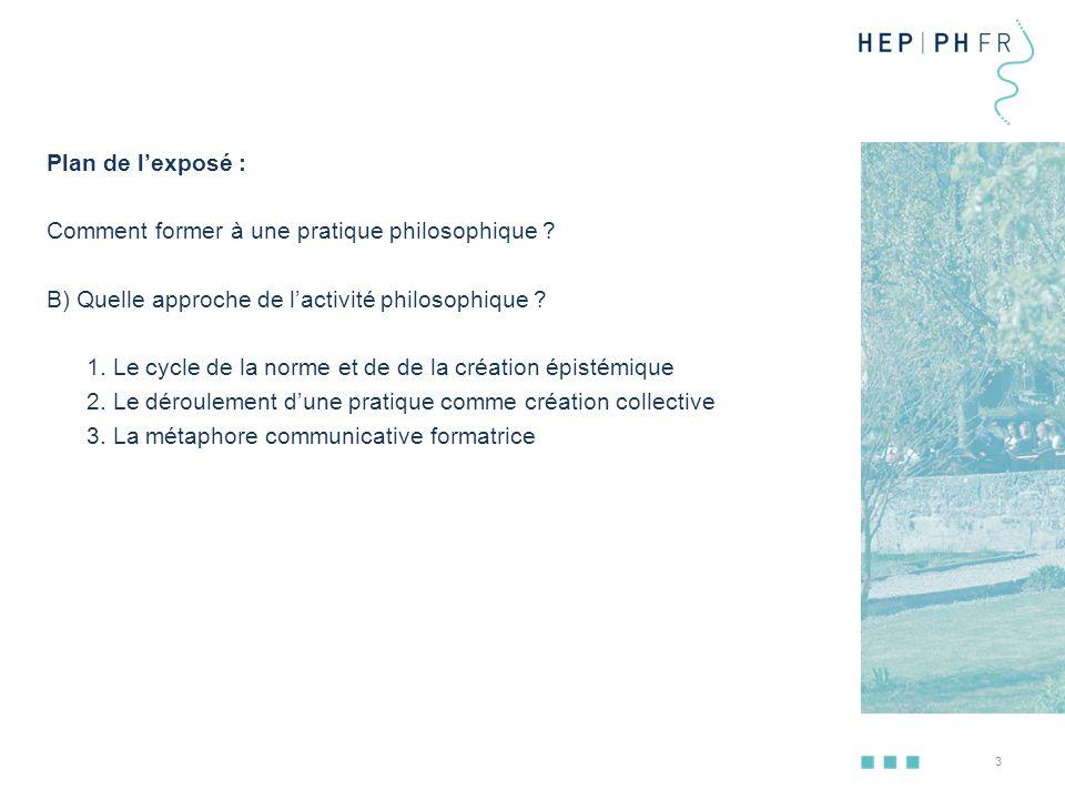 4 Plan de l'exposé : Quel est l'aboutissement scolaire de la pratique philosophique .