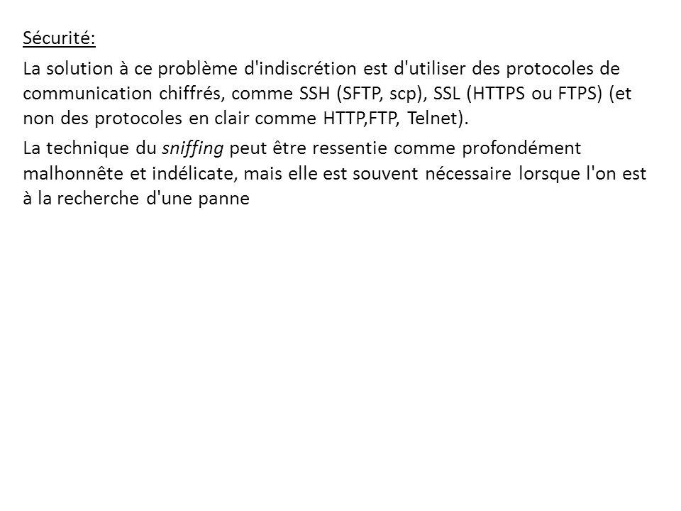 Sécurité: La solution à ce problème d'indiscrétion est d'utiliser des protocoles de communication chiffrés, comme SSH (SFTP, scp), SSL (HTTPS ou FTPS)